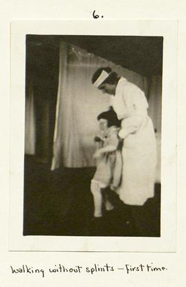 "Young patient using a ""Kiddie Kar."""