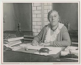 Geraldine Lermit at her desk, St. Louis School of Occupational Therapy.
