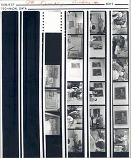 Contact sheet with 21 proofs of photographs from the ceremony presenting an oil portrait of E.V. ...