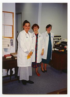 Group portrait of Tiffani Hunt, Bobbi Bischoff, and Brigid Fernandez, Barnes Hospital Department ...