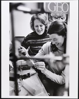 Dr. Rosalind Kornfeld and an unidentified woman, Division of Biology and Biomedical Sciences, Was...