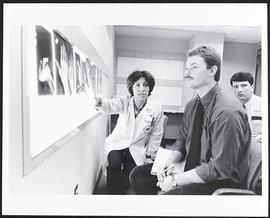 Dr. Barbara Monsees with an unidentified student, Department of Radiology, Washington University ...