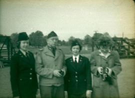 Three unidentified nurses and their Commanding Officer, Fort Benning, Georgia.