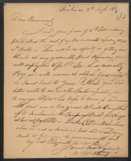 W. W. (William) Matthews, American Fur Company [Mackinac, MI] to W. Beaumont [Green Bay, WI] rega...