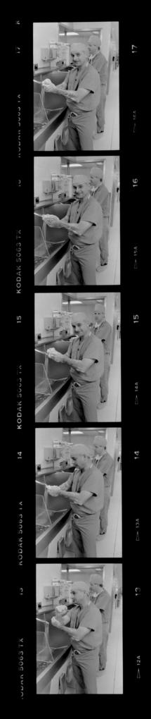 Portraits of Leroy Young preparing for surgery.