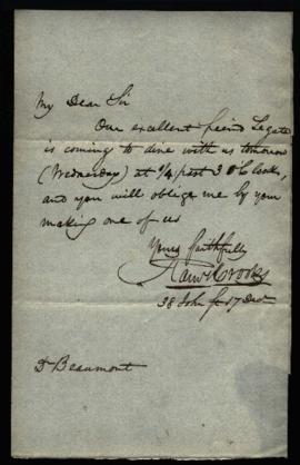 Ramsey Crooks to W. Beaumont regarding: dinner invitation. December 17, 1832.
