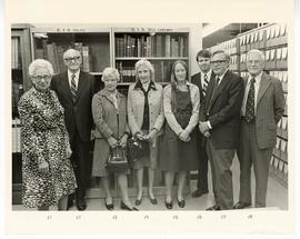 Group portrait of Estelle Brodman, S. Richard Silverman, Marjorie McCarthy Robins, Mrs. Wolf, Lau...