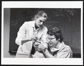 Dr. Dorothy Perry instructing a student how to intubate a patient, Department of Anesthesiology, ...