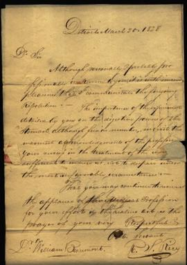 Letter and resolution of the Medical Society of the Territory of Michigan from R. S. Rice, Secret...