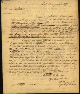 Draft of letter from W. Beaumont [Fort Niagara, NY] to James Webster, publisher of the Medical Re...