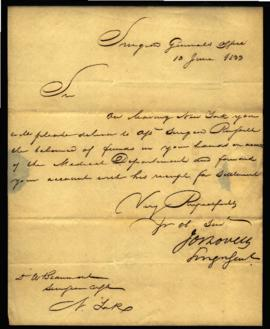 Orders from Joseph Lovell, Surgeon General's Office [Washington, DC] to W. Beaumont [New York, NY...