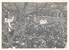 Aerial view of the procession and crowd of spectators, funeral of Sun Yat-Sen, China.