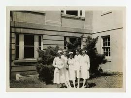 Group portrait of five Occupational Therapists, Wakeman General and Convalescent Hospital, Camp A...