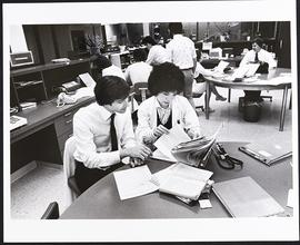 Unidentified student and fourth year student Donna Kono, Washington University School of Medicine.