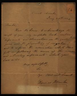 Thomas H. Benton, U. S. Senate [Washington, DC] to W. Beaumont [Washington, DC] regarding: thanks...