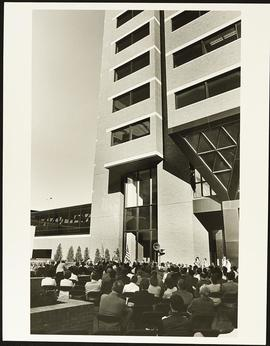 View of the Cancer Research Building Dedication ceremony.
