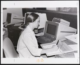 Unidentified researcher using a computer.