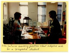 Lisa LaTurno answering questions about adaptive aids for a prospective student, Washington Univer...