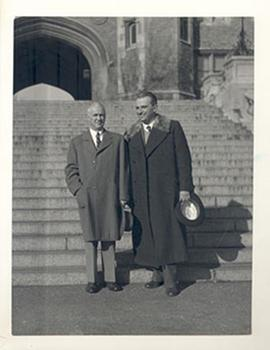 E.V. Cowdry and an unidentified man standing on the steps of Brookings Hall at Washington Univers...