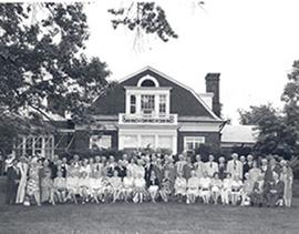 Group portrait of the Washington University class of 1924 at their 50th reunion, Chancellor's lun...