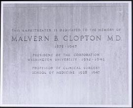 Clopton Auditorium memorial plaque, Wohl Clinics, Washington University School of Medicine.