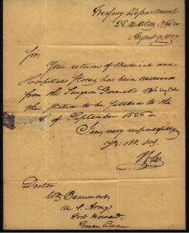 J. L. Lee, Second Auditor's Office, Treasury Department [Washington, DC] to W. Beaumont [Fort How...