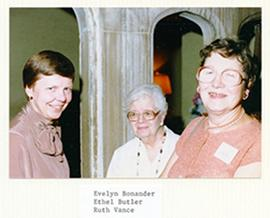 Group portrait of Evelyn Bonander, Ethel Butler, and Ruth Vance.