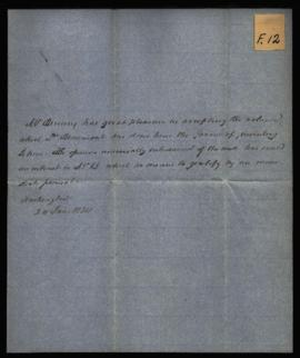 Mr. Binney [Washington, DC] to W. Beaumont, regarding: thanks for Experiments and Observations. J...