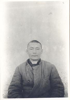 Anthropological front-facing portrait of a Kirghiz laborer, age 22, from Sven Hedin's Sino-Swedis...