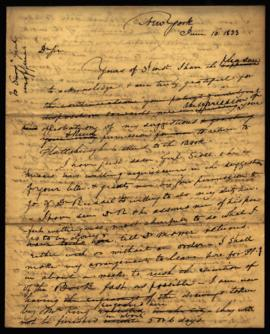 Draft of letter from W. Beaumont [New York, NY] to Joseph Lovell, Surgeon General [Washington, DC...