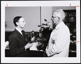 Mark S. Wrighton and Ronald G. Evens at an event in the King Faculty Center, Becker Medical Library.