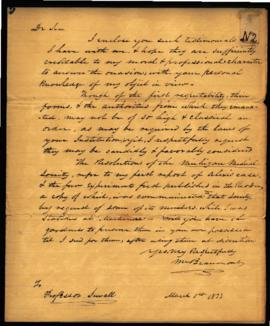 W. Beaumont to Professor Thomas Sewall [New York, NY] regarding: credentials sent. March 1, 1833.