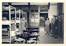 Alice Cowdry touring the nurses' dormitories at the National Defense Medical Center, Taipei, Taiwan.