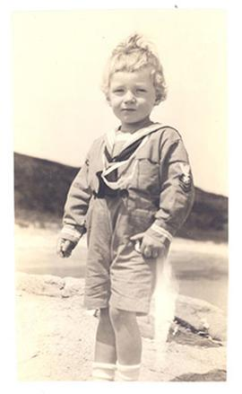 Portrait of young E.V. Cowdry, Jr. at the beach.