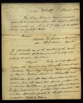 Minutes of Army Medical Board [Washington, DC] by W. Beaumont, member and recorder, regarding: ex...