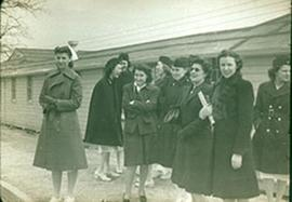 Group of unidentified nurses outside Station Hospital quarters, Fort Benning, Georgia.