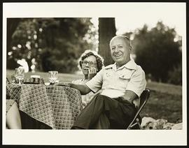 Associate Dean John C. Herweg and an unidentified woman at a Freshmen Winery Party, Washington Un...