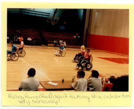 View of a benefit wheelchair basketball game.