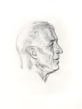 Reproduction of a sketch of E.V. Cowdry's profile drawn by Parisian artist Henri Pelletier at the...