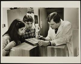 Dr. Thomas Woolsey and two students, Department of Anatomy, Washington University School of Medic...