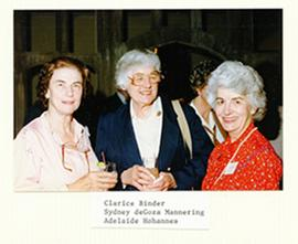 Group portrait of Clarice Binder, Sydney deGoza Mannering, and Adalaide Hohannes.