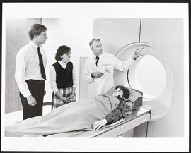 Dr. Ron Evens with students Robert Onder and Barbara Scavone, Department of Radiology, Washington...