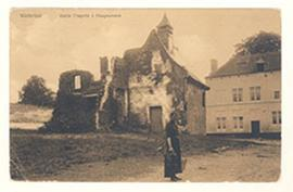 Postcard featuring the Hougoumont Chapel near Brussels, Belgium, where the Battle of Waterloo was...