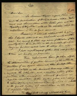 Thomas Henderson [Washington, DC] to Senator Asher Robbins regarding: endorsing W. Beaumont's mem...