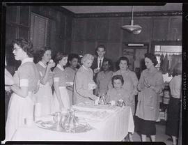 Nurses and volunteers at a luncheon, Jewish Hospital.