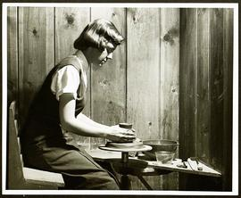 Washington University Occupational Therapy student throwing pottery.