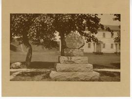 Stone monument honoring William Beaumont, Fort Mackinac, Michigan.