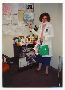 Portrait of Jeannie Krause-Taylor in her office, Barnes Hospital Department of Social Work.