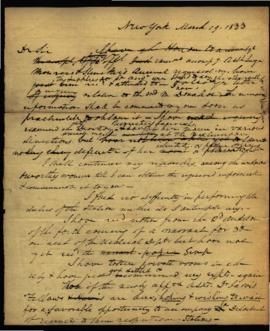 Draft of letter from W. Beaumont [New York, NY] to Joseph Lovell [Washington, DC] regarding: supp...