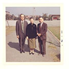 Group portrait of an unidentified woman and two men at the National Defense Medical Center, Taipe...